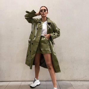 Nasty Gal belted vinyl trench coat in olive